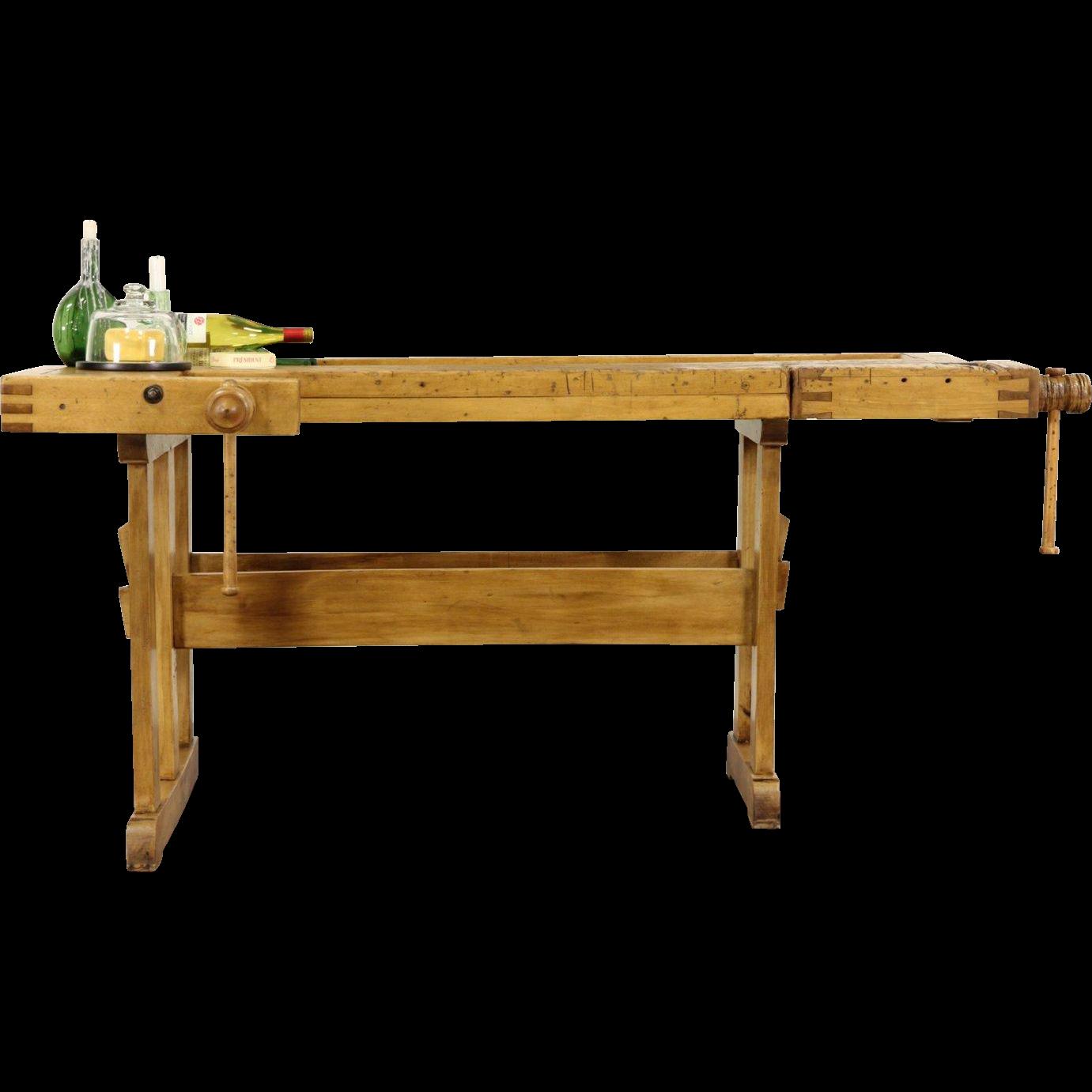 Carpenter 1890 Antique Workbench, Kitchen Island or Wine & Cheese Table