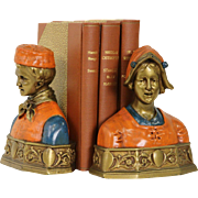 Pair of Hand Painted 1910 Bust Bookends, Signed Pompeian Bronze