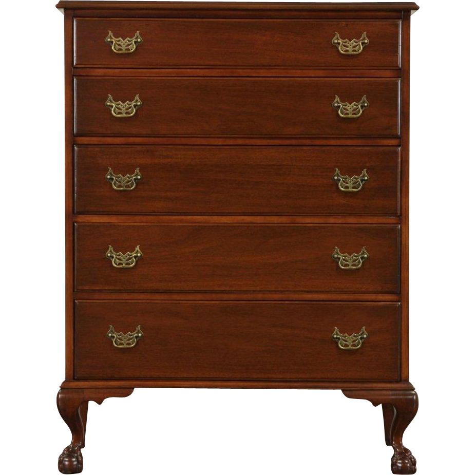 Georgian 1950's Vintage Mahogany Tall Chest or Dresser, Carved Claw Feet