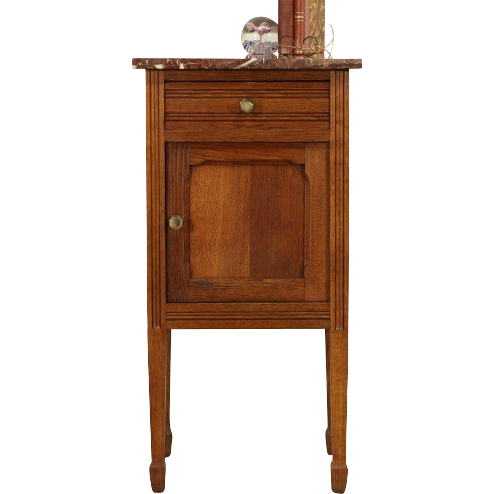 French Oak 1920 Antique Nightstand, Marble Top
