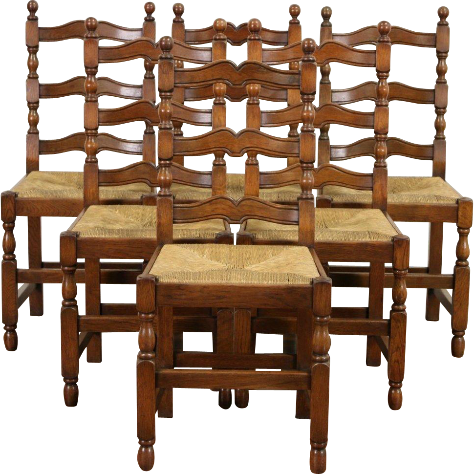 Set of 6 Scandinavian Country 1920's Antique Oak Dining Chairs, Rush Seats
