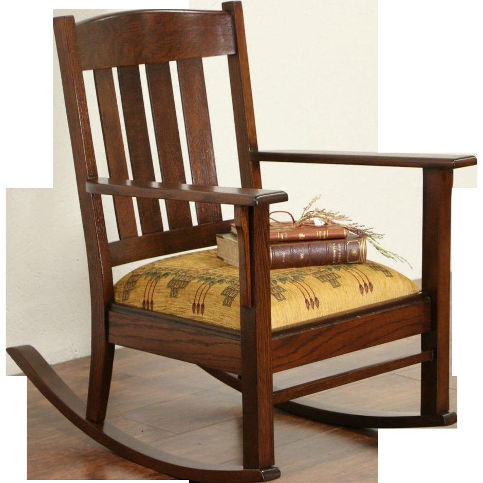 Antique mission chair - Arts Crafts Mission Oak 1905 Antique Craftsman Rocking Chair Or Rocker