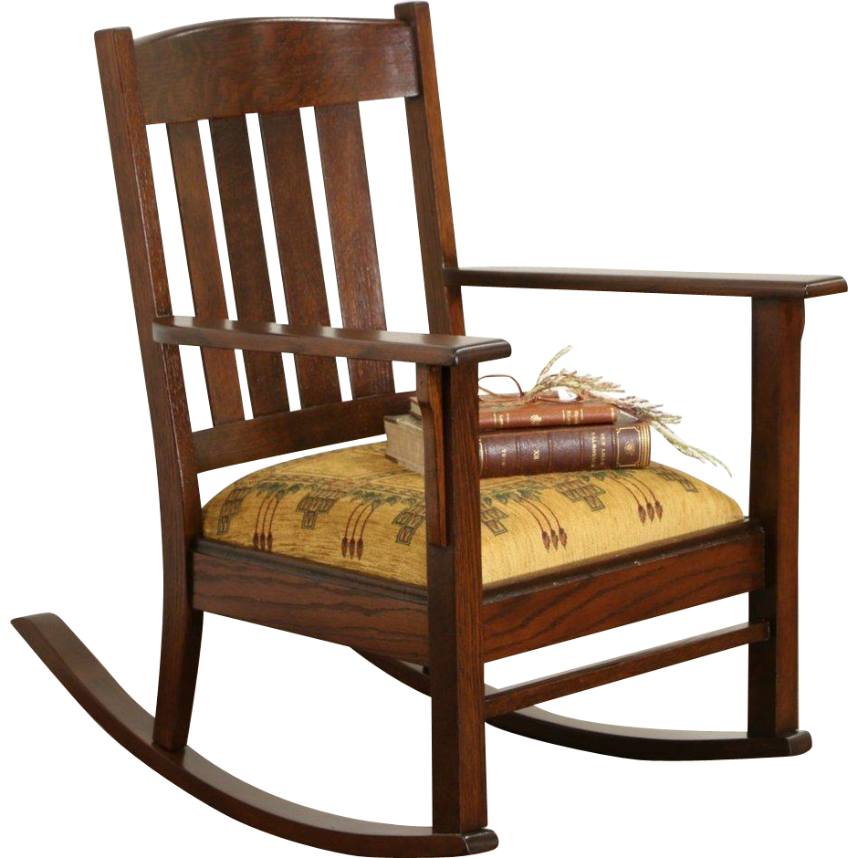 Arts & Crafts Mission Oak 1905 Antique Craftsman Rocking Chair or : Harp  Gallery Antique Furniture | Ruby Lane - Arts & Crafts Mission Oak 1905 Antique Craftsman Rocking Chair Or