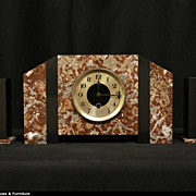 French Art Deco 1925 Three Piece Colored Marble Clock Set
