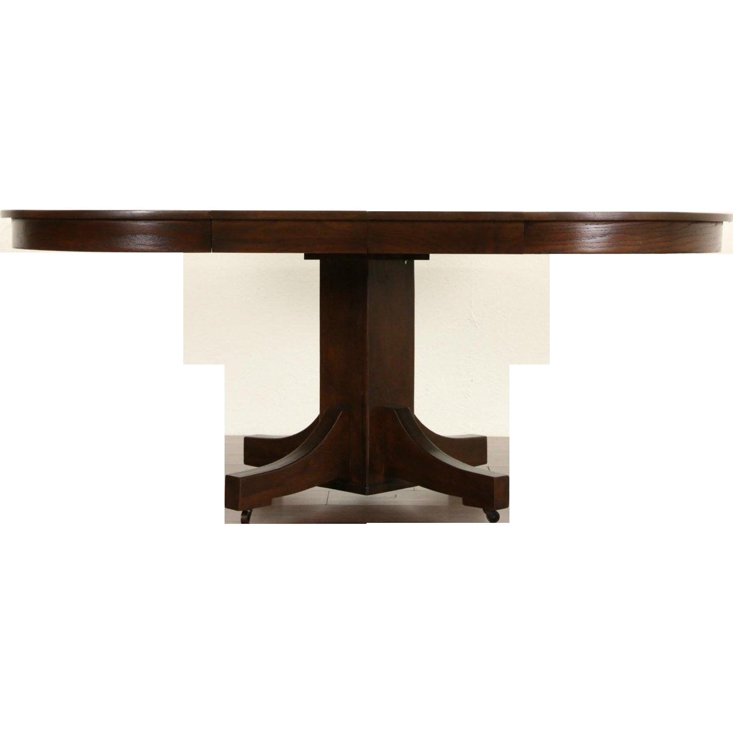Arts & Crafts Mission Oak Round 1910 Antique Craftsman Dining Table, 2 Leaves