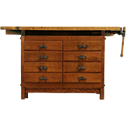 Carpenter 1915 Maple Workbench, Wine & Cheese Table or Kitchen Island Counter