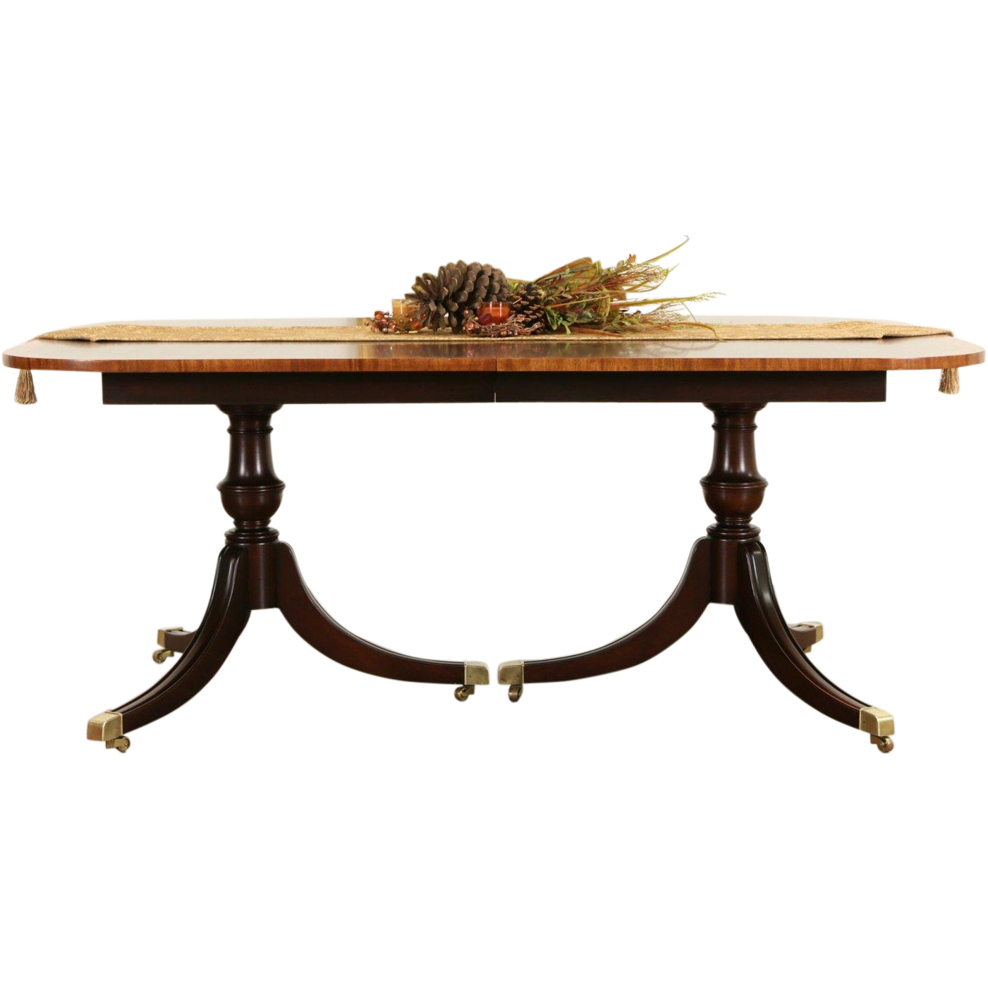 Banded Mahogany Vintage Double Pedestal Dining Table, No Leaves