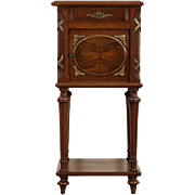 French Empire Antique Nightstand, Mahogany and Bronze Mounts