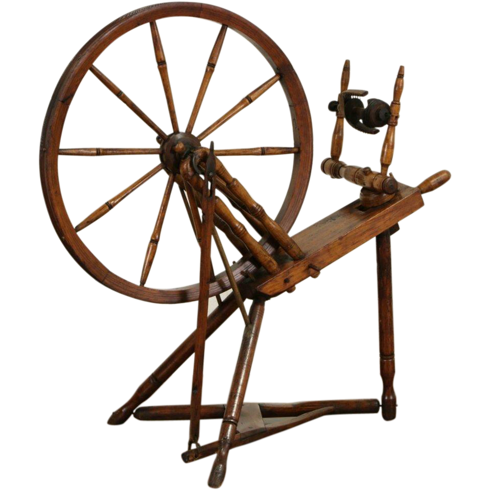 Spinning Wheel, Hand Made Mid 1800's Antique, Signed Pis Pis