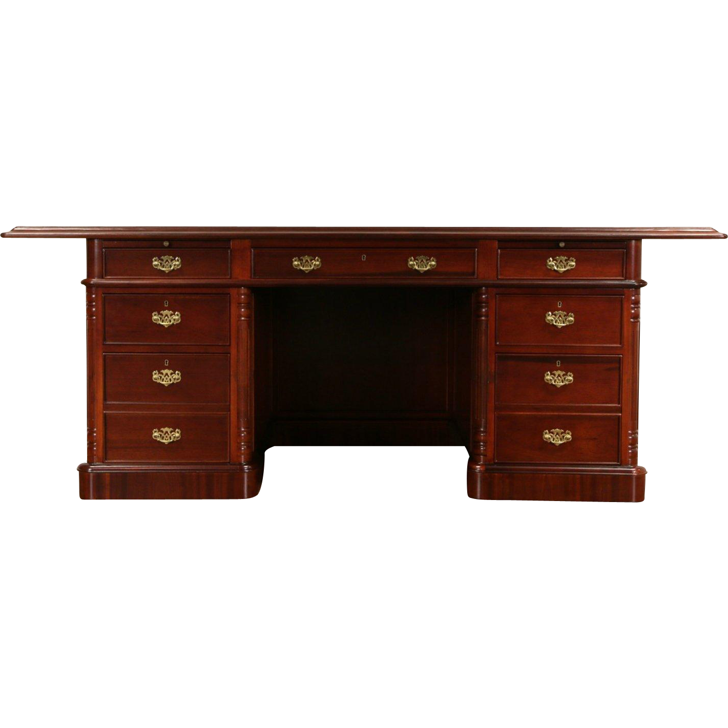 "Executive or Library 6' 10"" Traditional Desk, Signed Mahogany & Leather"