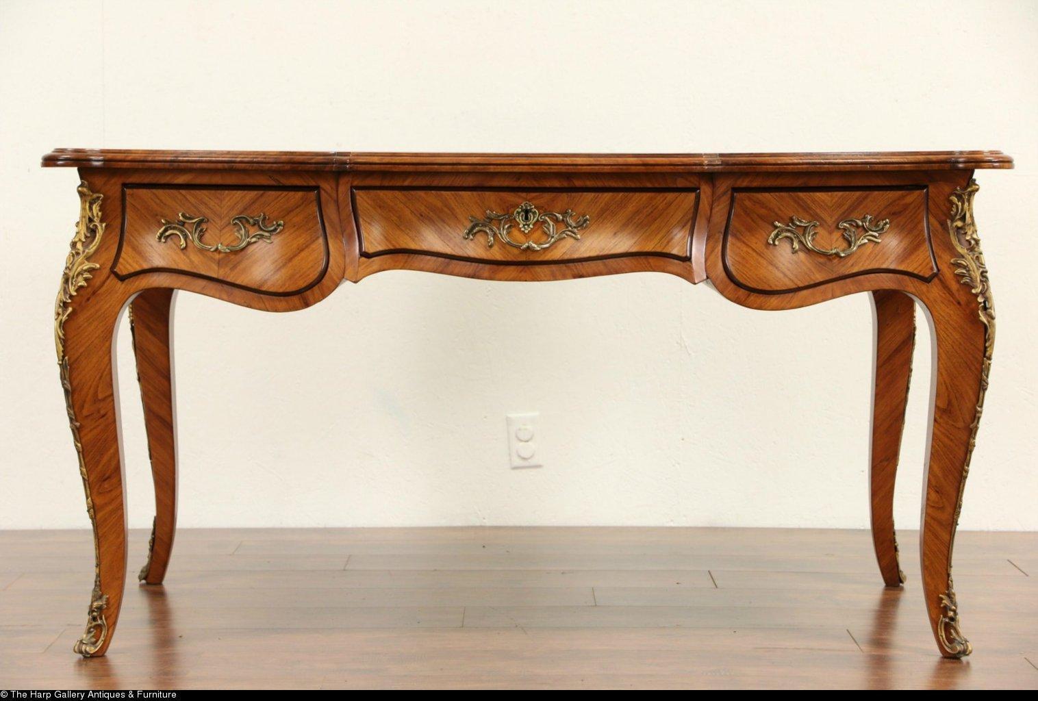 french louis xiv 1900 39 s antique tulipwood bureau plat desk bronze from harpgallery on ruby lane. Black Bedroom Furniture Sets. Home Design Ideas