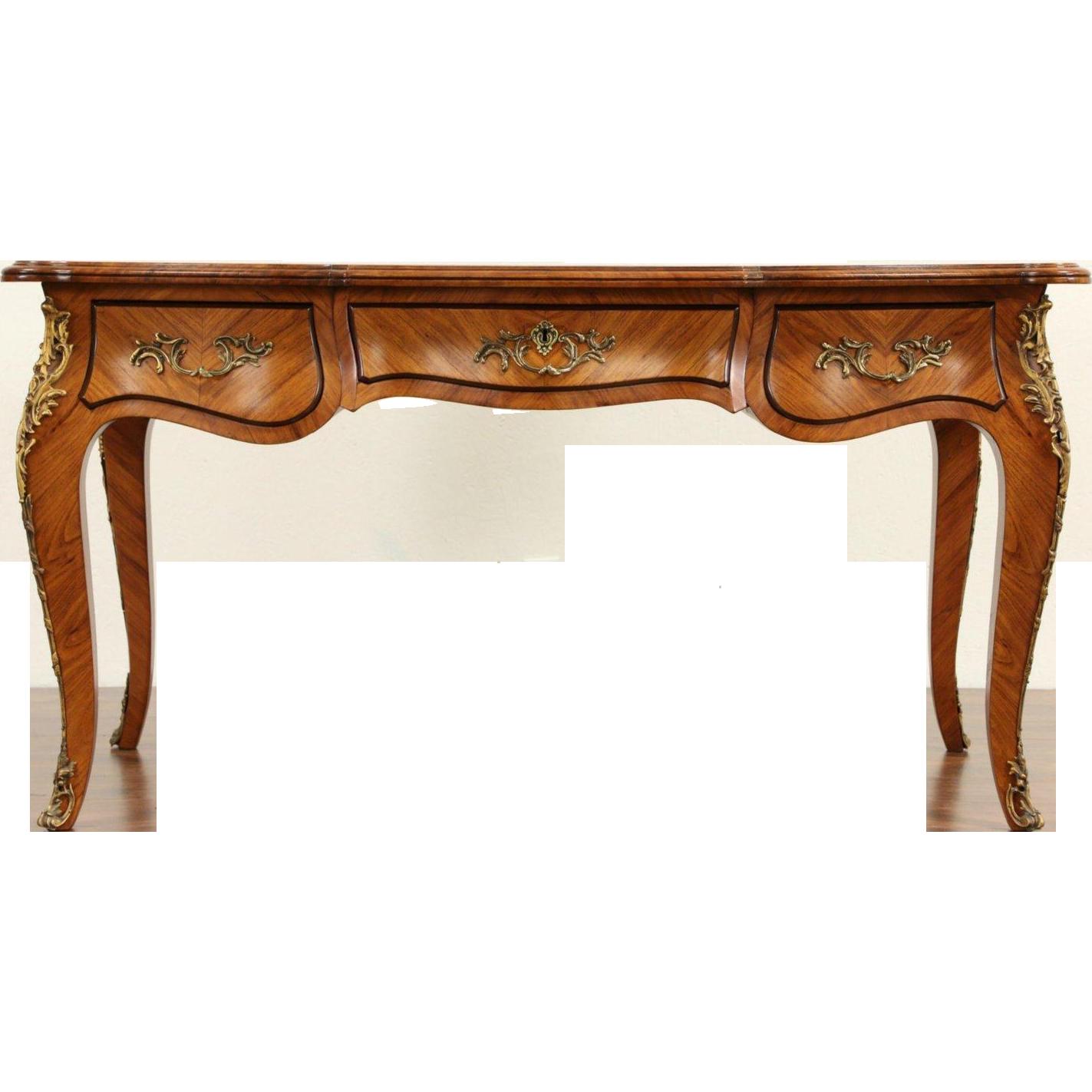 French louis xiv 1900 39 s antique tulipwood bureau plat desk for Bureau french