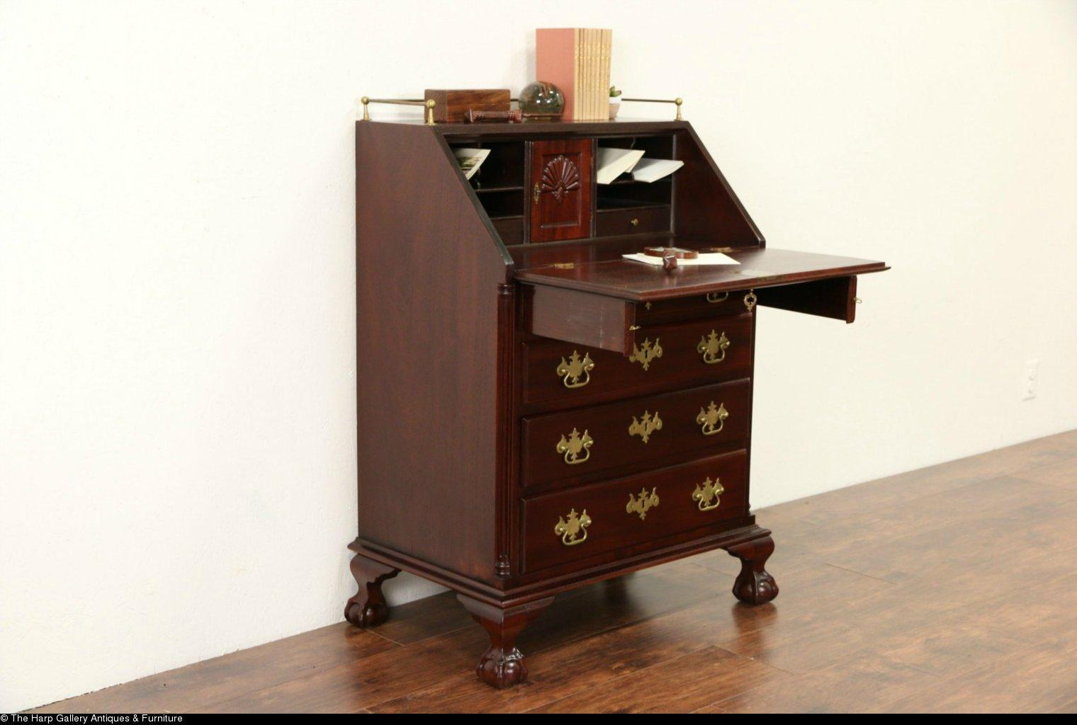 traditional mahogany vintage secretary desk carved shells ball from harpgallery on ruby lane. Black Bedroom Furniture Sets. Home Design Ideas