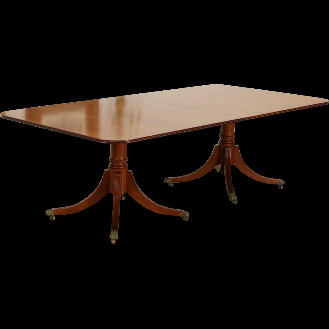 Dining Table, Vintage Primavera 12' Banded & Marquetry, 2 Pedestals