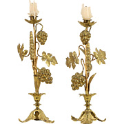Pair Brass Grapevine Antique 1900 Candlesticks