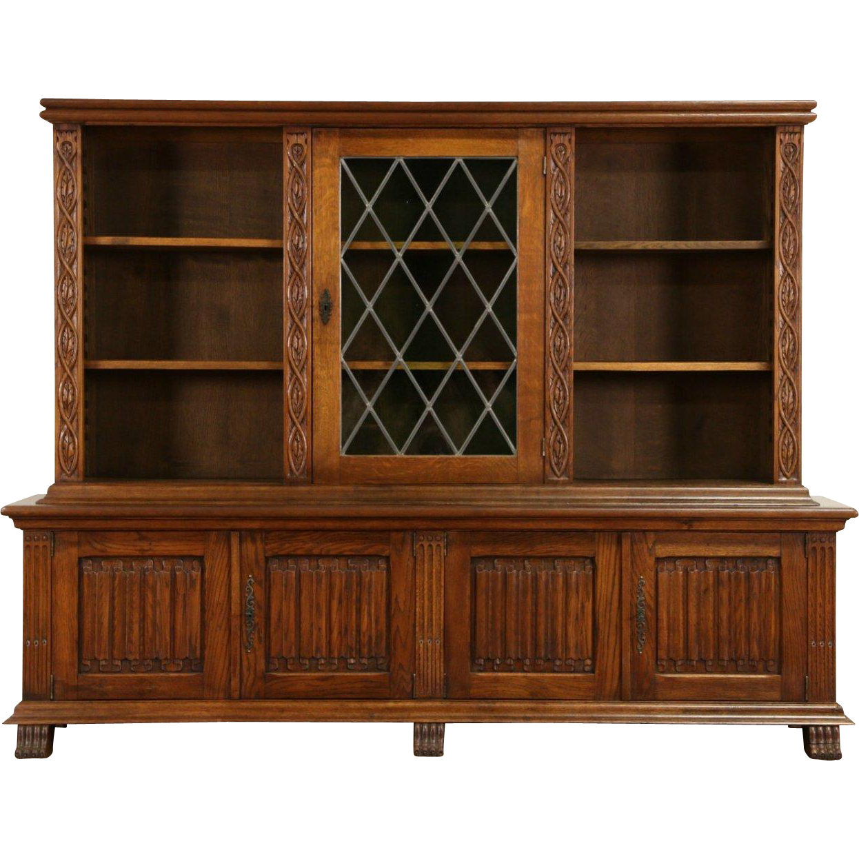 Oak Dutch 1920's Library Bookcase, Leaded Glass Doors,Carved Linen Fold Panels