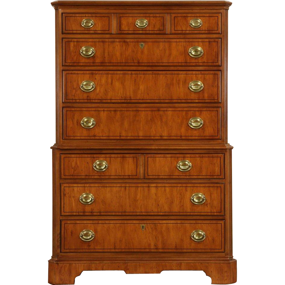 Drexel Yorkshire Signed Tall Chest on Chest or Highboy Dresser, Yew & Ebony