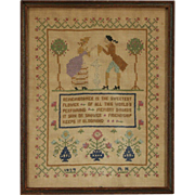 Stitchery Sampler on Linen, Signed & Dated 1929, Framed