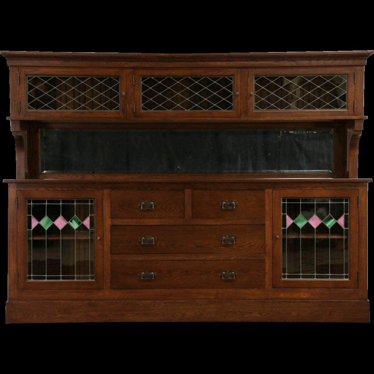"""Arts & Crafts 1900 Mission Oak 8' 7"""" Back Bar Sideboard Cabinet, Leaded Glass"""