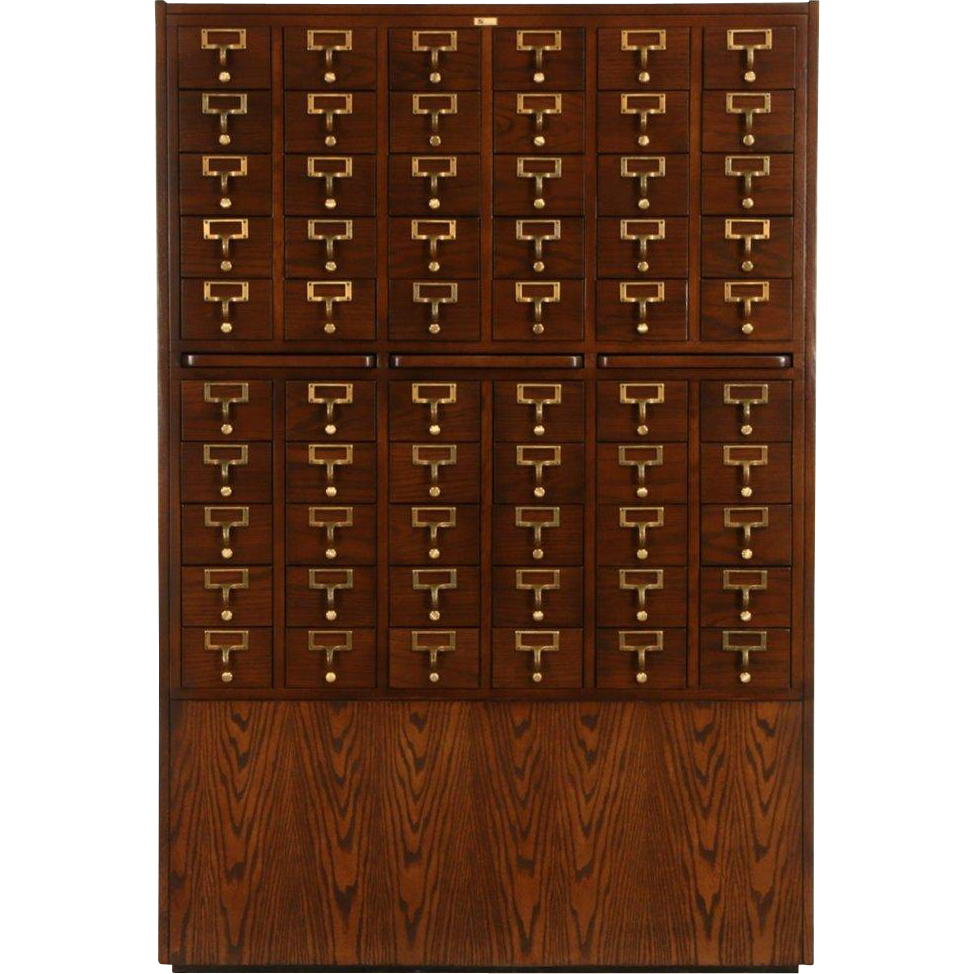 Oak 1976 Vintage Signed 60 Drawer 3x5 Library Card File