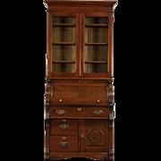 Oak 1895 Antique Cylinder Roll Top Secretary Desk & Bookcase