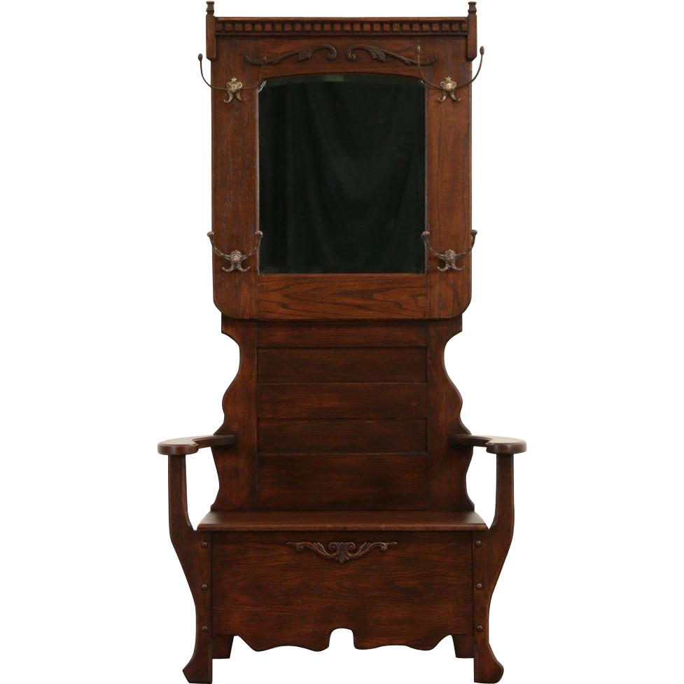 Victorian Oak 1900 Antique Hall Bench or Dressing Room Stand, Beveled Mirror