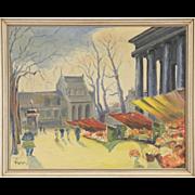 Flower Market 1940 Vintage Scandinavian Oil Painting, Signed Lynge