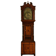 English 1820 Georgian Antique Long Case Grandfather Clock, Quartz Movement