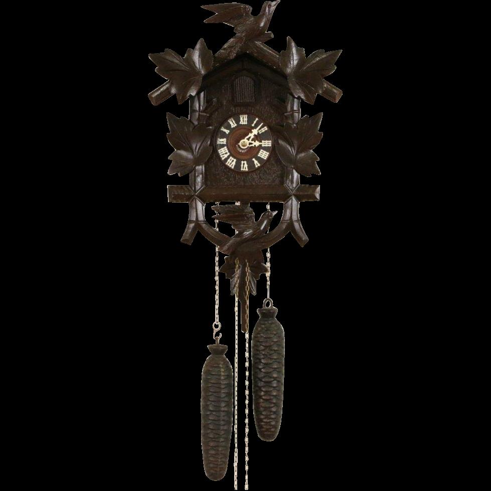 German Black Forest Hand Carved Vintage Cuckoo Clock
