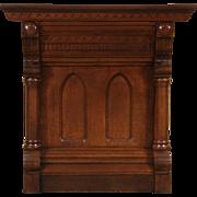 Carved Oak 1880 Antique Lodge  Console Cabinet or Pedestal