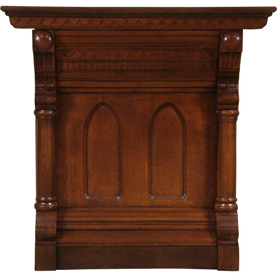 Carved Oak 1880 Antique Lodge  Console Cabinet or Pedestal