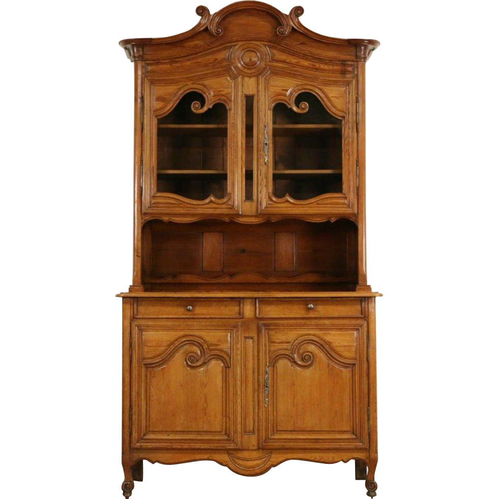 Country French Provincial Pine 1870 Antique China Cabinet or Sideboard Cupboard
