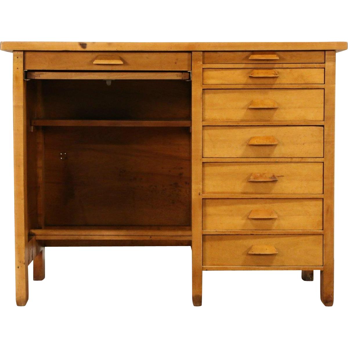 Maple 1910 Antique Printer Desk, Workbench, Kitchen Island, 8 Drawers