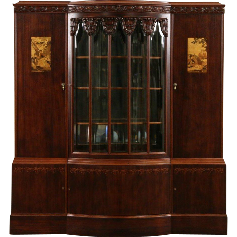 French Art Deco 1920 Antique China or Bar Cabinet, Rosewood & Marquetry