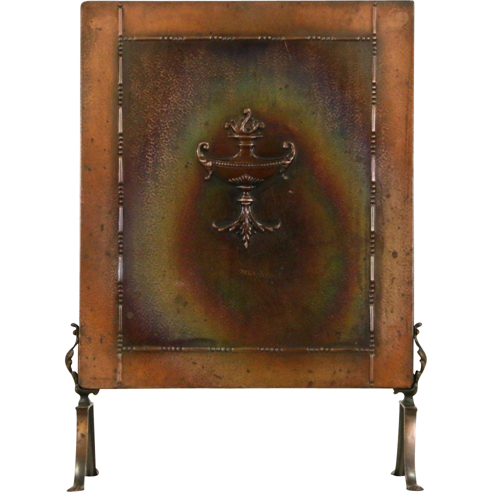Arts & Crafts 1900 Antique Hammered Copper Craftsman Fire Screen