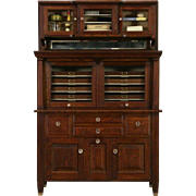 Oak Raised Panel Dentist 1900 Antique Dental, Jewelry or Collector Cabinet