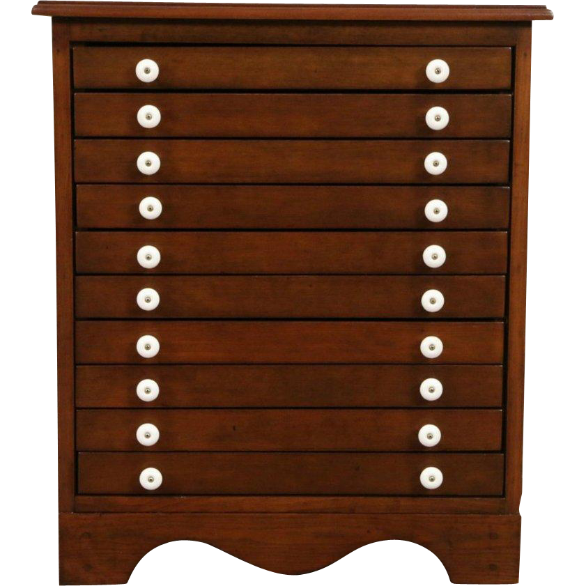 Collector Cabinet or Jewelry Chest, Vintage 10 Drawers, Signed Vector of Mich.