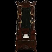 Victorian 1900 Antique Hall Stand, Bench, Mirror, Coat & Hat Hooks