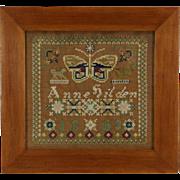 Needlework Sampler, Signed Anna Gilden 1863