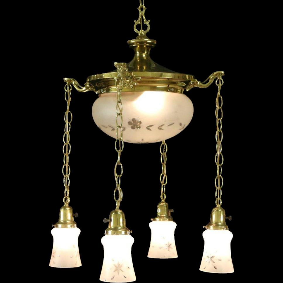 Vintage Light Fixture: Brass 1910 Antique Ceiling Light Fixture, 5 Cut Glass