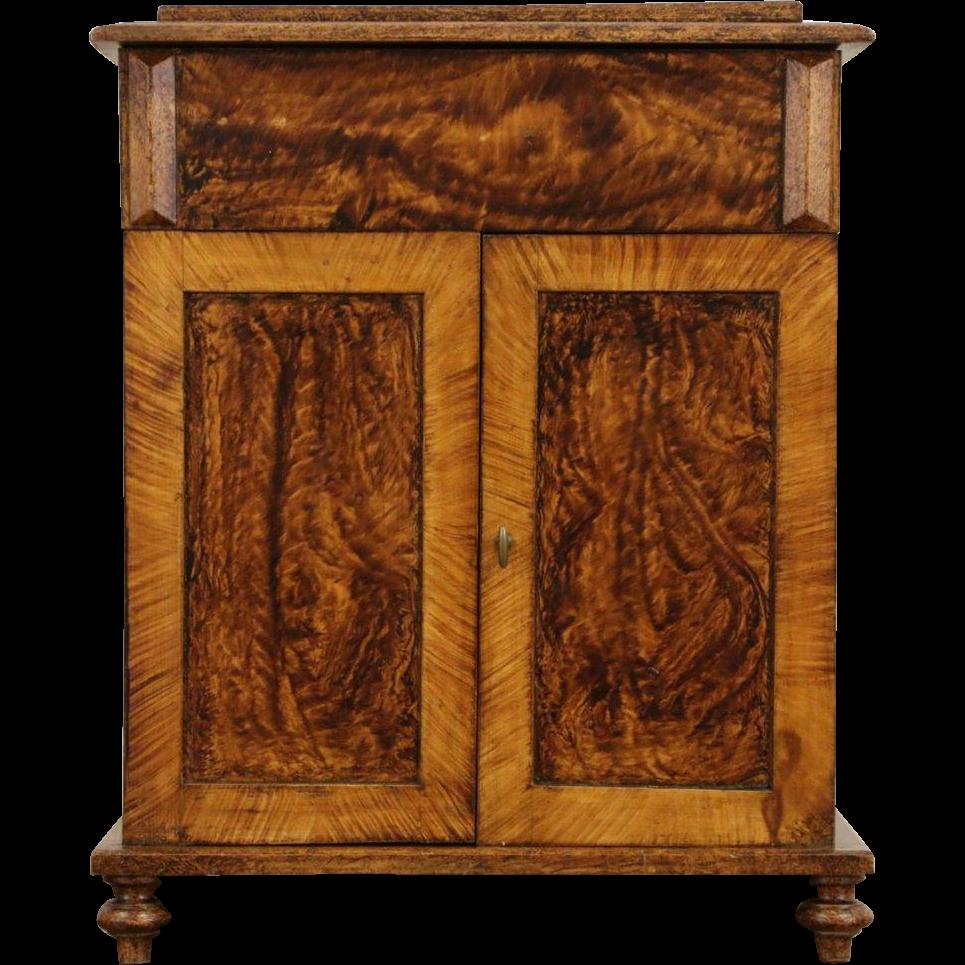 Grain Painted Pine 1880 Antique Commode or Bonnet Box Cabinet