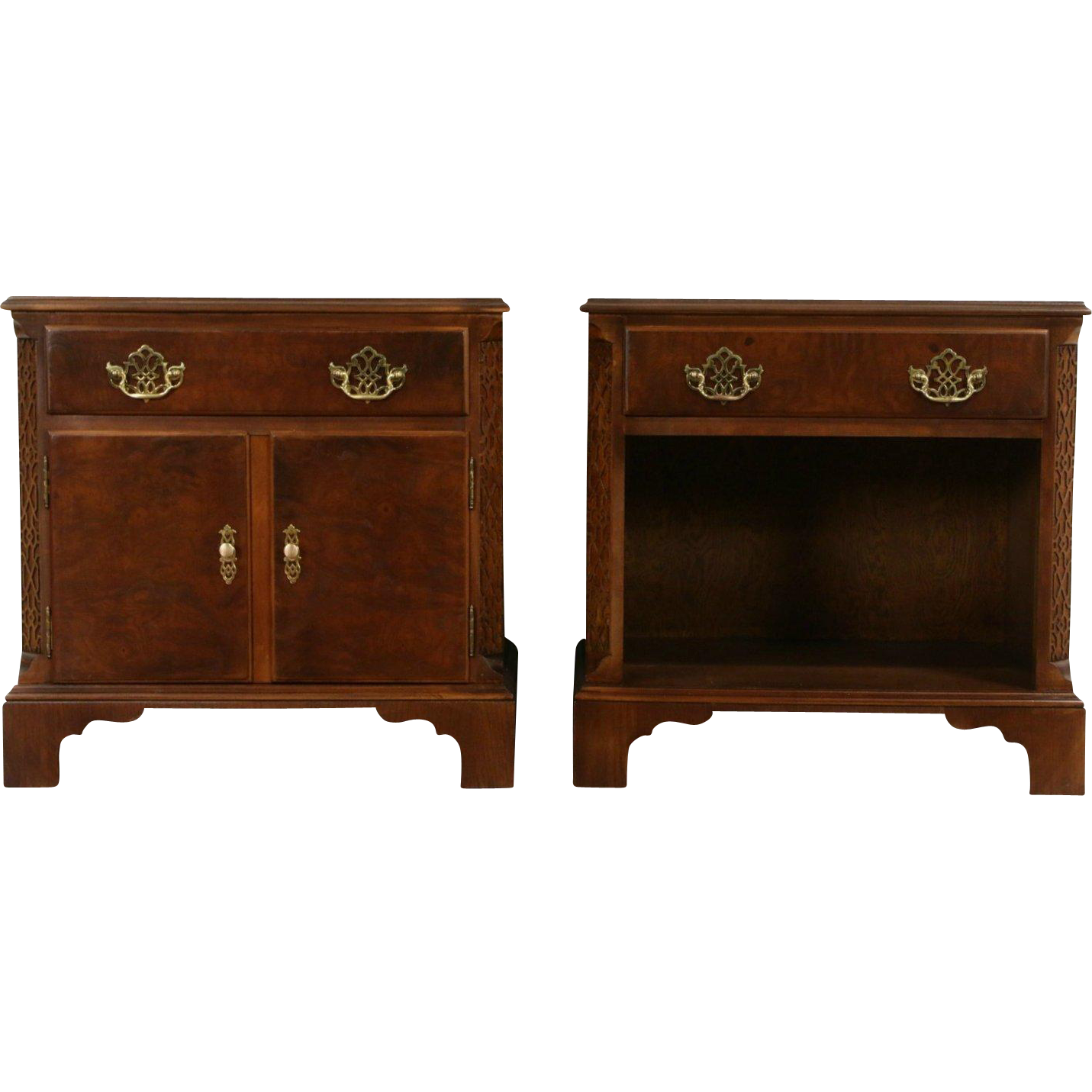 Pair of Signed Baker Vintage Nighstands, Oak & Elm Burl