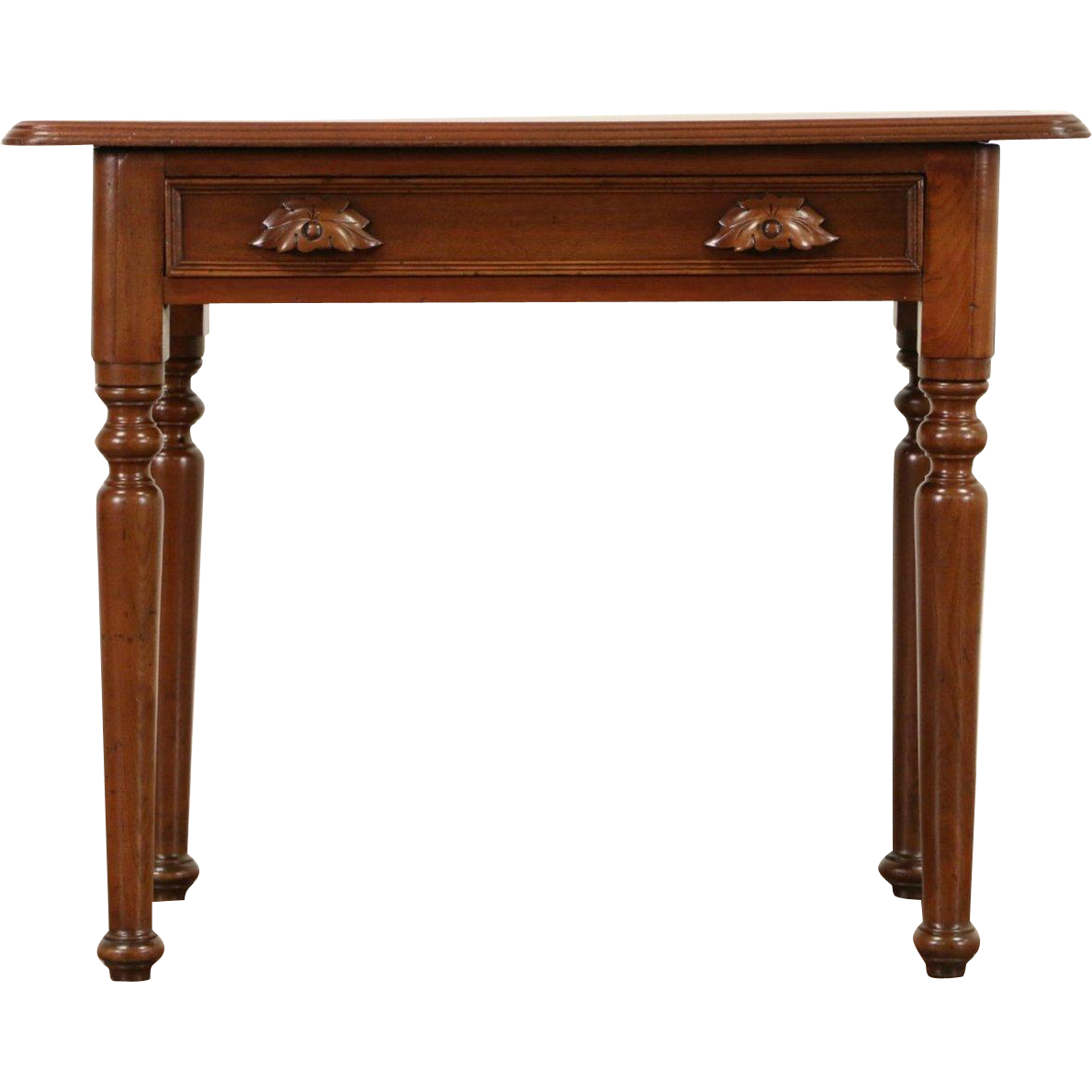 Victorian 1875 Antique Carved Walnut One Drawer Table