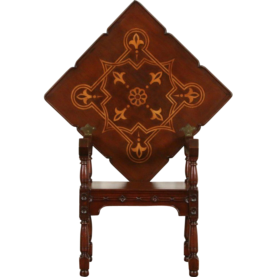 Scandinavian 1900 Antique Combination Chair & Folding Table, Mahogany, Marquetry