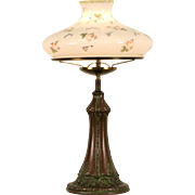 Table Lamp, 1915 Antique, Hand Painted Milk Glass Shade