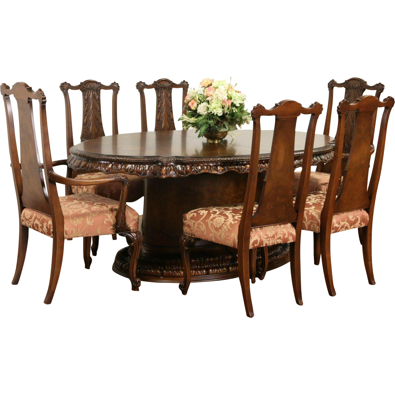 Romweber Louis XV Carved de Gaulle Dining Set, Table, 2 Leaves, 6 Chairs