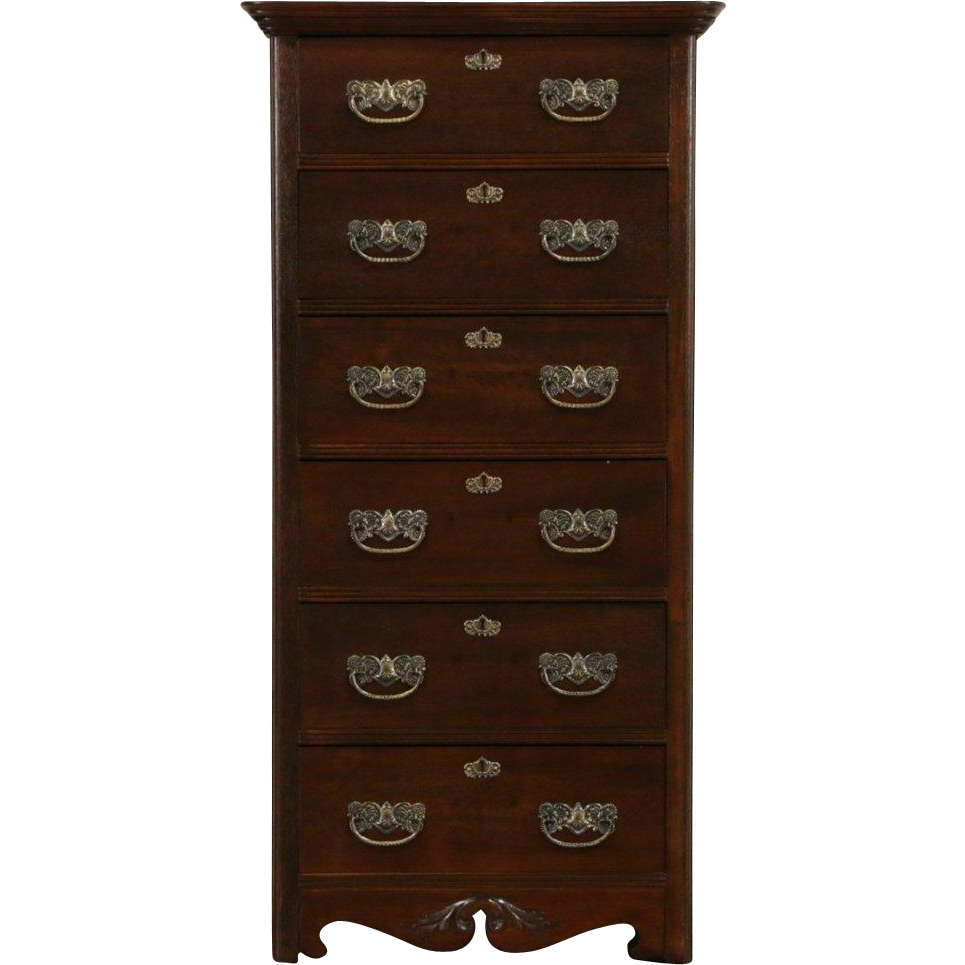 Victorian Antique 1900 Oak Narrow Tall Chest or Dresser