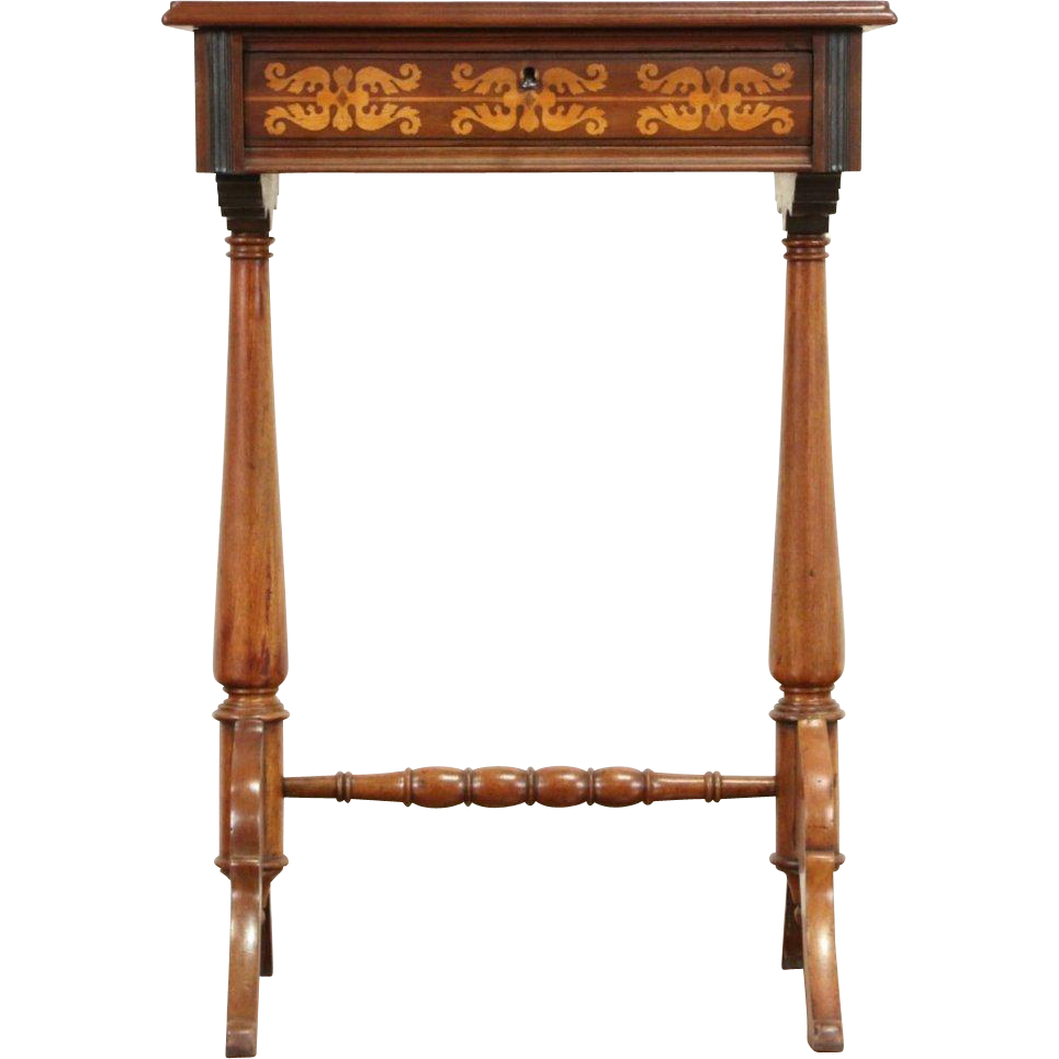 Dutch 1870 Antique Sewing Stand Work Table, Inlaid Marquetry