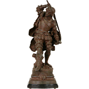 Victorian 1880 Antique Statue of a Renaissance Cavalier with Drawn Sword