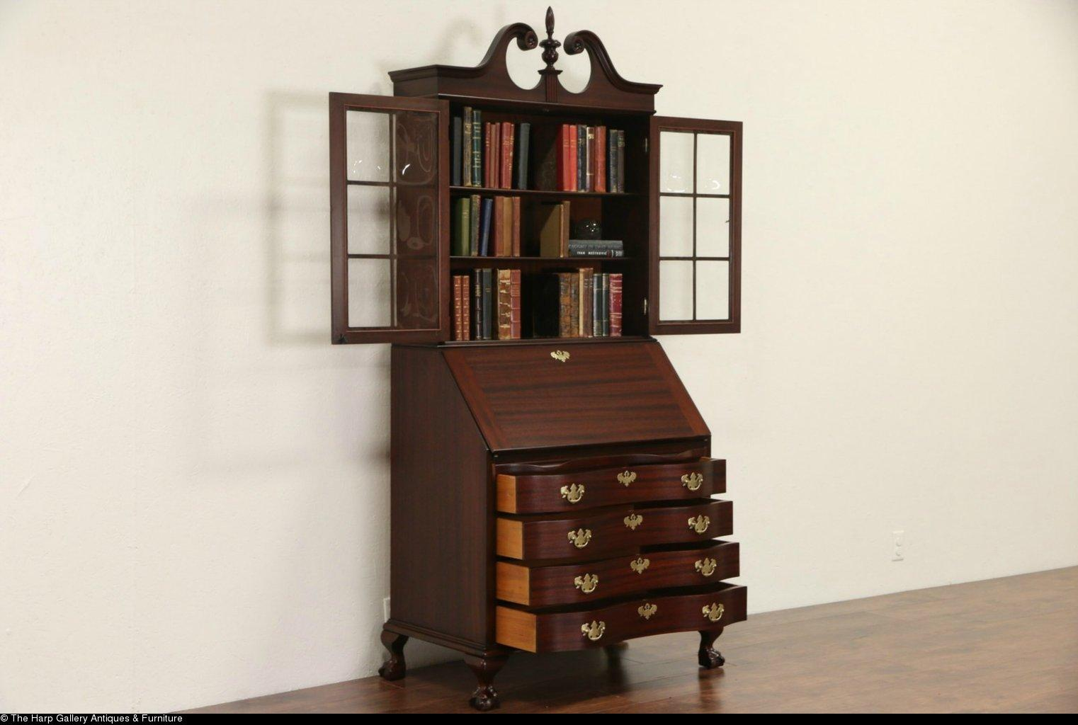 maddox signed mahogany vintage secretary desk convex glass bookcase from harpgallery on ruby lane. Black Bedroom Furniture Sets. Home Design Ideas